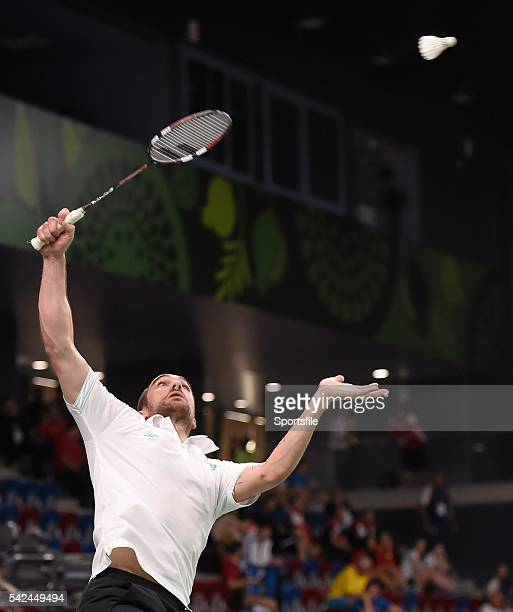24 June 2015 Scott Evans Ireland in action against Gergely Krausz Hungary during their Men's Badminton Singles Group Stage match 2015 European Games...