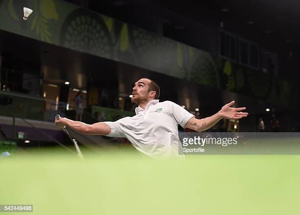 24 June 2015 Scott Evans Ireland in action against Gergely Krausz Hungary during their Men's Badminton Singles Group Stage match 2015 European Games...