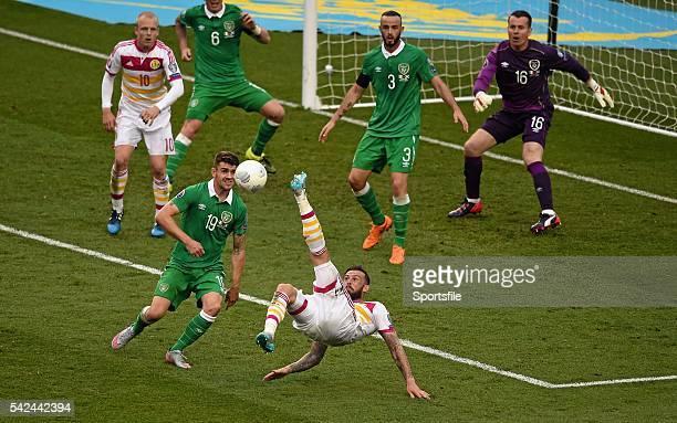 13 June 2015 Stephen Fletcher Scotland attempts an overhead shot during the second half UEFA EURO 2016 Championship Qualifier Group D Republic of...