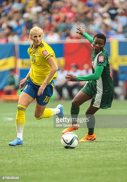 June 2015 Sweden's Sofia Jacobsson with the ball during the Sweden vs Nigeria game at the Investors Group Field in Winnipeg MB.