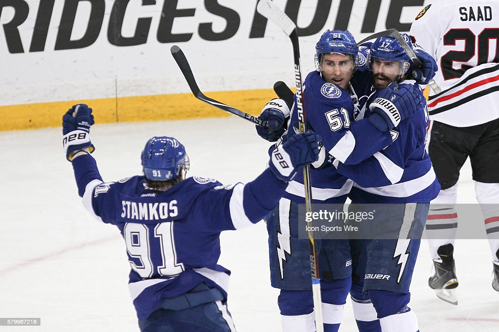 aa02da4a429 Tampa Bay Lightning center Valtteri Filppula (51) celebrates with Tampa Bay  Lightning center Alex