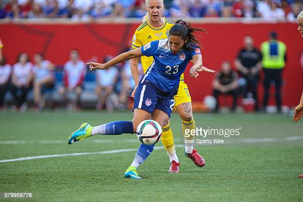 June 2015 USA's Sydney Leroux eyes the ball during the USA vs Sweden game at the Investors Group Field in Winnipeg MB.