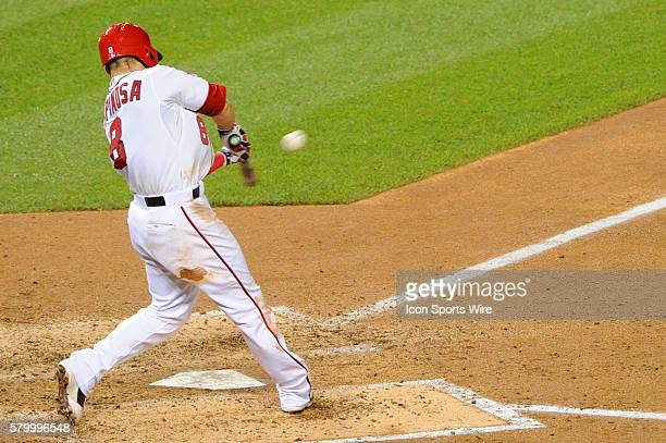 Washington Nationals shortstop Danny Espinosa hits an RBI triple against the Pittsburgh Pirates at Nationals Park in Washington DC where the...