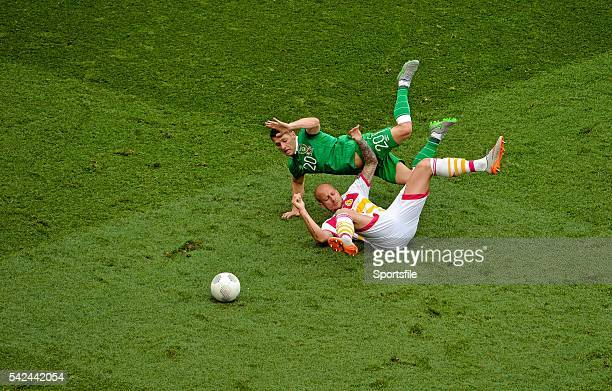 13 June 2015 Wes Hoolahan Republic of Ireland in action against Alan Hutton Scotland UEFA EURO 2016 Championship Qualifier Group D Republic of...