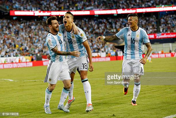 Argentina midfielder Erik Lamela screams to the fans after scoring Argentina defeated Venezuela 41 in the quarterfinal of the 2016 Copa America...