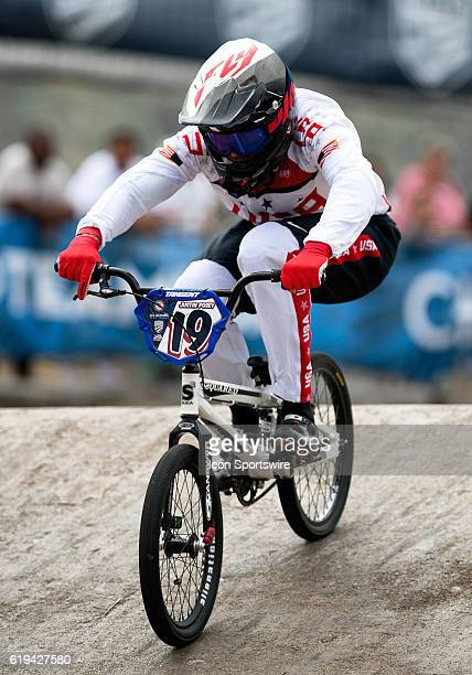 Dans Comps Justin Posey barrels down the first straight during USA BMX's Olympic Trials at the US Olympic Training Center in Chula Vista Calif