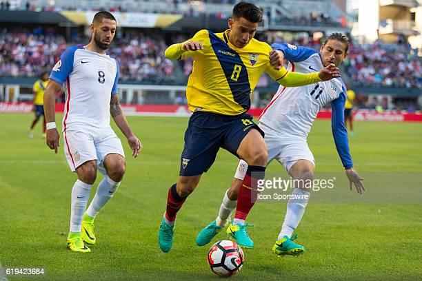 Ecuador midfielder Fernando Gaibor keeps the ball away from United States defender Alejandro Bedoya during the Copa America Centenario quarterfinal...