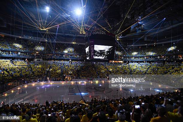 General view of the laser light show before the first period Game Two was won 21 in overtime by the Pittsburgh Penguins against the San Jose Sharks...