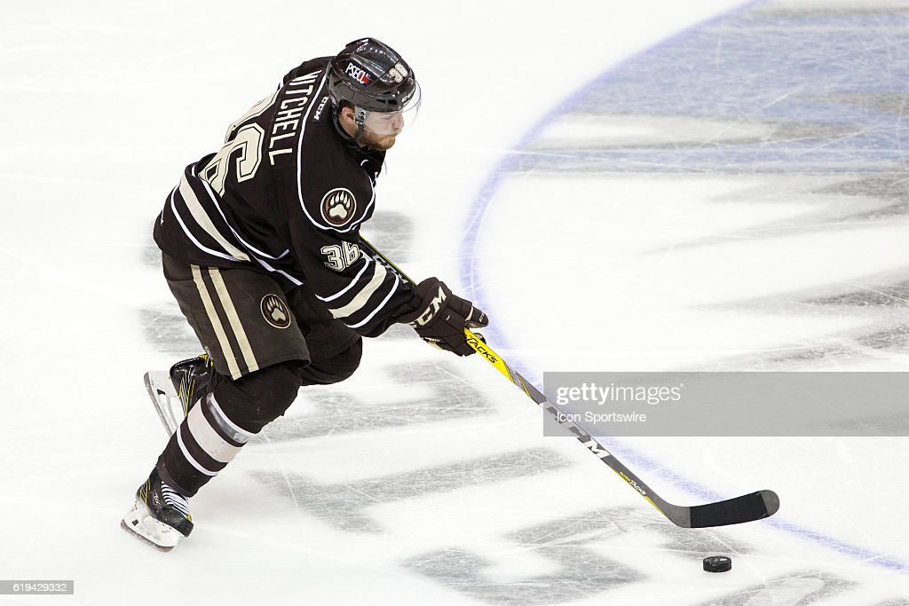 Hershey Bears RW Garrett Mitchell (36) plays the puck during the third period of the 2016 Calder Cup Finals game 3 hockey game between the Hershey Bears and Lake Erie Monsters at Quicken Loans Arena in Cleveland, OH. Lake Erie defeated Hershey 3-2 to take a 3-0 lead in the series.