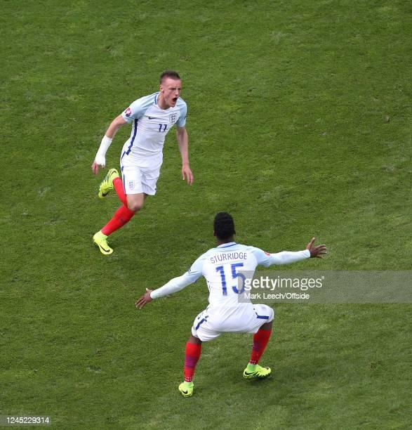 Euro 2016 - England v Wales Jamie Vardy celebrates after scoring the equalising goal for England, Daniel Sturridge.