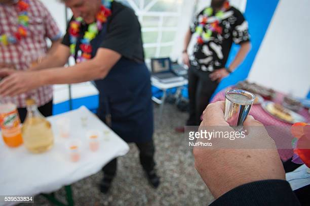 June 2016 People are seen drinking locally made country vodka or bimber Polterabend is a tradition observed in Germany and in Poland where guests...
