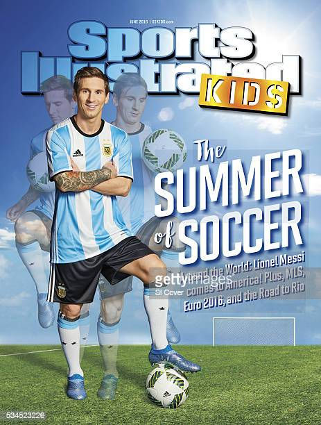 June 2016 Sports Illustrated via Getty Images Kids Cover Composite portrait of Argentina Men's National Team forward Lionel Messi posing during photo...