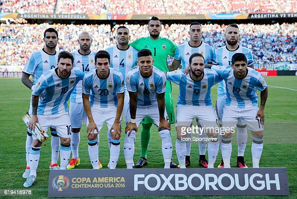 Starters for Argentina pose before the start of the match Argentina defeated Venezuela 41 in the quarterfinal of the 2016 Copa America Centenario at...