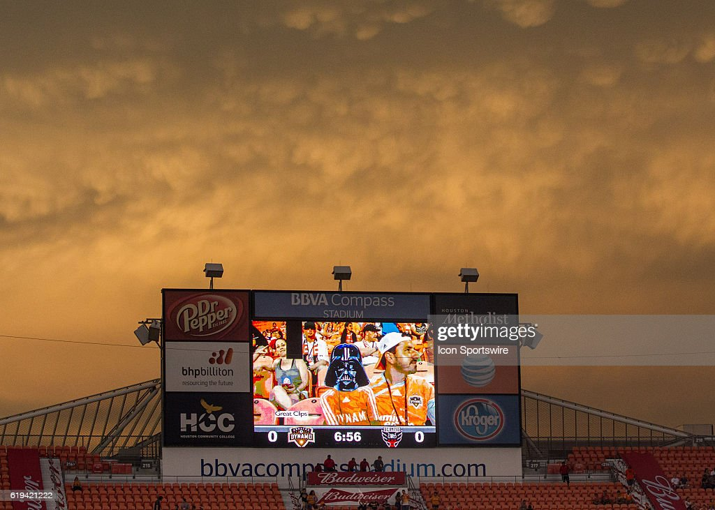 Stormy skies caused a delay during the MLS soccer match between DC United and Houston Dynamo at BBVA Compass Stadium in Houston, Texas.