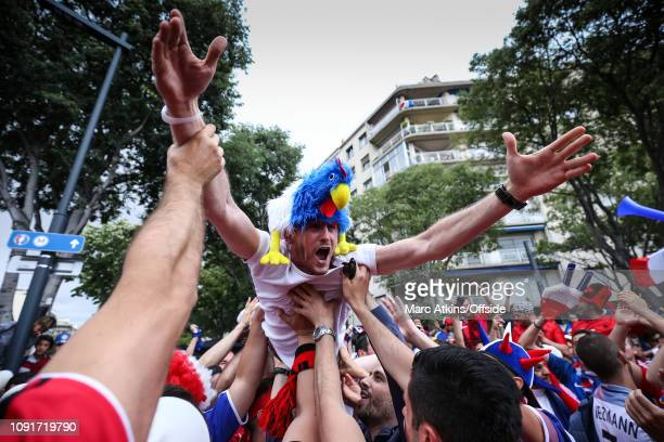 15 June 2016 UEFA EURO 2016 Group A France v Albania France and Albania fans indulge in a spot of crowd surfing before the match