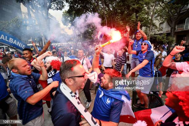 15 June 2016 UEFA EURO 2016 Group A France v Albania France fans dance whilst waving a red flare