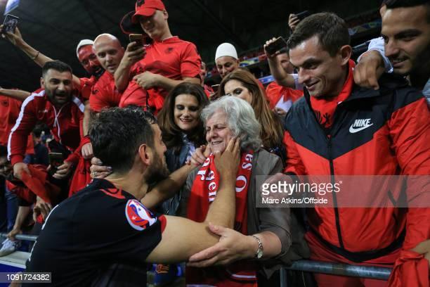 June 2016 - UEFA EURO 2016 - Group A - Romania v Albania - Mergim Mavraj of Albania celebrates with his mother after the win - .