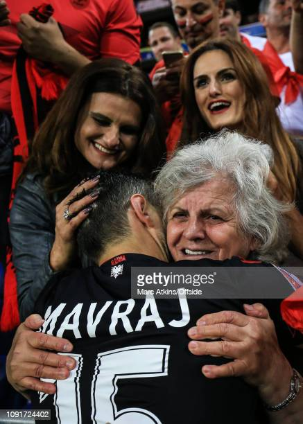 June 2016 - UEFA EURO 2016 - Group A - Romania v Albania - Mergim Mavraj of Albania celebrates with his family after the win - .