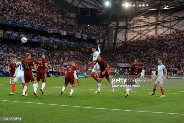 11 June 2016 UEFA EURO 2016 Group B England v Russia Chris Smalling of England gets in a headed effort