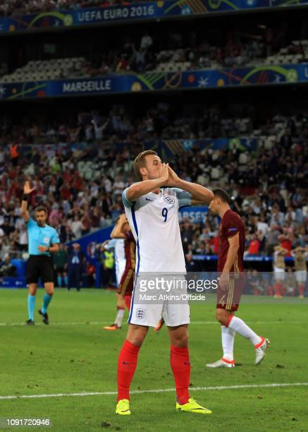 11 June 2016 UEFA EURO 2016 Group B England v Russia Harry Kane reacts to a missed chance