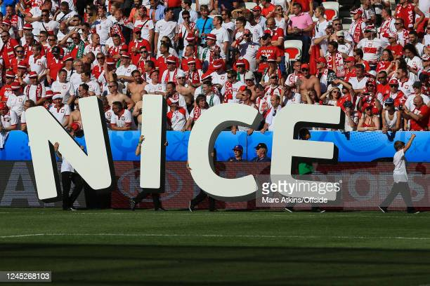 June 2016 - UEFA EURO 2016 - Group C - Poland v Northern Ireland - Dancers carry giant letters spelling out the match venue, 'Nice' -