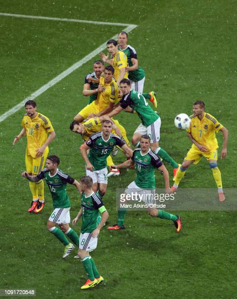 16 June 2016 UEFA EURO 2016 Group C Ukraine v Northern Ireland Players from both team look on as a free kick os delivered