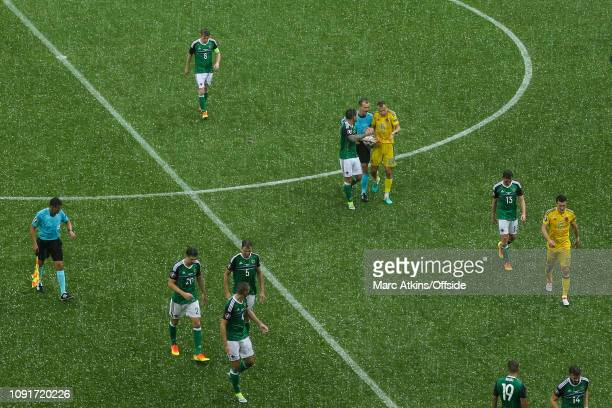 16 June 2016 UEFA EURO 2016 Group C Ukraine v Northern Ireland The players are forced to leave the pitch due to a sudden storm