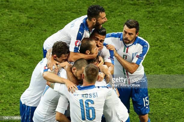 13 June 2016 UEFA EURO 2016 Group E Belgium v Italy Emanuele Giaccherini of Italy celebrates scoring the opening goal among team mates