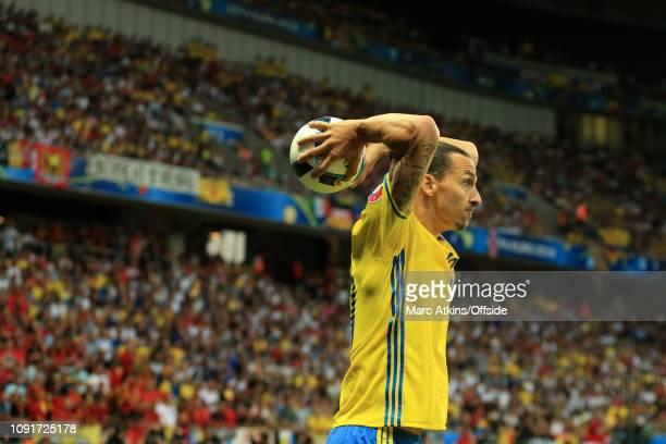 June 2016 - UEFA EURO 2016 - Group E - Sweden v Belgium - Zlatan Ibrahimovich of Sweden takes a throw in - .