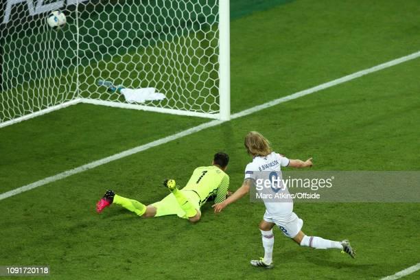 14 June 2016 UEFA EURO 2016 Group F Portugal v Iceland Birkir Bjarnason of Iceland wheels away and celebrates scoring a goal 11