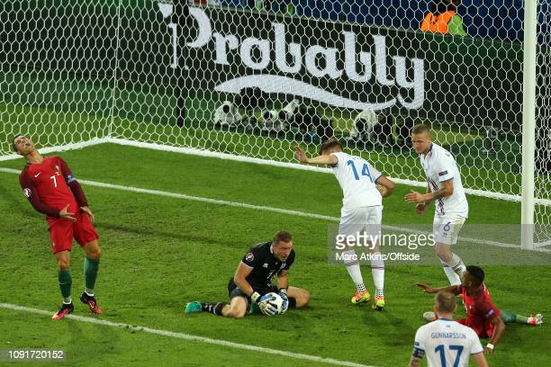 14 June 2016 UEFA EURO 2016 Group F Portugal v Iceland Cristiano Ronaldo of Portugal reacts as Iceland goalkeeper Hannes Halldorsson claims the ball