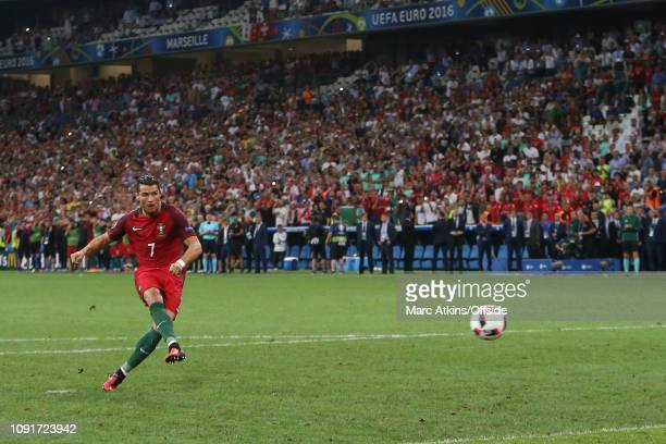 30 June 2016 UEFA EURO 2016 Quarter Final Poland v Portugal Cristiano Ronaldo of Portugal scores from the penalty spot