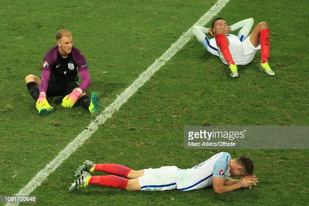 June 2016 - UEFA EURO 2016 - Round of 16 - England v Iceland - A dejected Joe Hart, Dele Alli and Gary Cahill of England - .