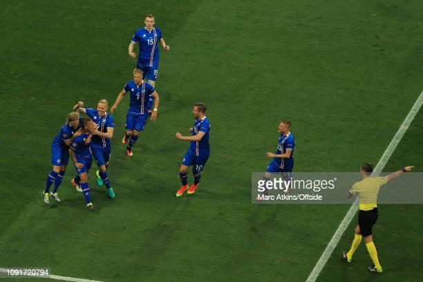 27 June 2016 UEFA EURO 2016 Round of 16 England v Iceland Iceland players celebrate their 1st goal from Ragnar Sigurdsson
