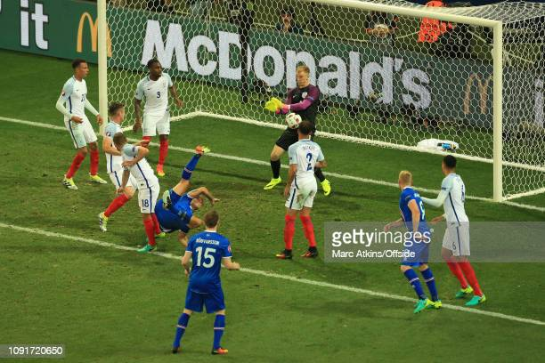27 June 2016 UEFA EURO 2016 Round of 16 England v Iceland Joe Hart of England saves from a Ragnar Sigurdsson bicycle kick