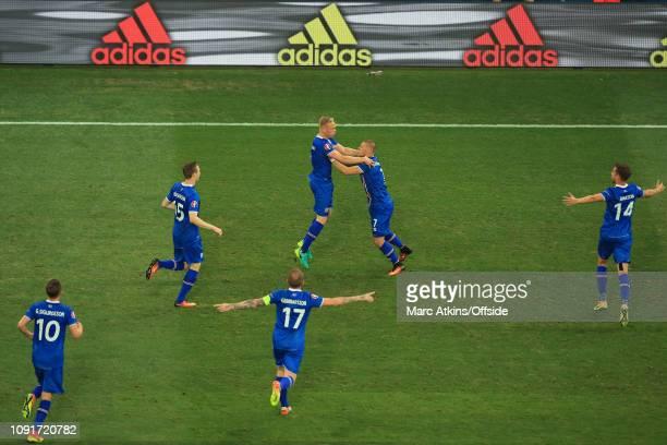 June 2016 - UEFA EURO 2016 - Round of 16 - England v Iceland - Kolbeinn Sigthorsson celebrates scoring their 2nd goal with team-mates - .