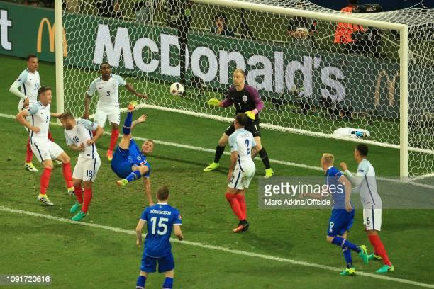 June 2016 - UEFA EURO 2016 - Round of 16 - England v Iceland - Ragnar Sigurdsson of Iceland attempts a bicycle kick - .