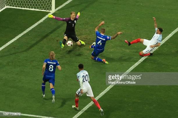 27 June 2016 UEFA EURO 2016 Round of 16 England v Iceland Ragnar Sigurdsson of Iceland scores their 1st goal