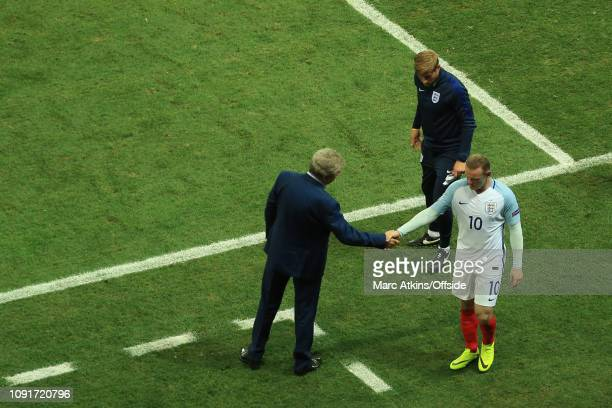 27 June 2016 UEFA EURO 2016 Round of 16 England v Iceland Wayne Rooney of England shakes hands with Roy Hodgson as he is substituted