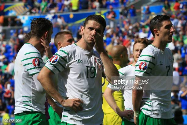26 June 2016 UEFA EURO 2016 Round of 16 France v Republic of Ireland A dejected Robbie Brady of Republic of Ireland wipes away tears after the defeat