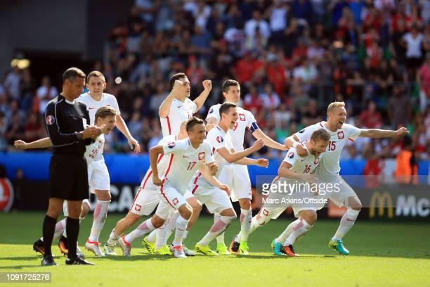 25 June 2016 UEFA EURO 2016 Round of 16 Switzerland v Poland Poland celebrate the win on penalties