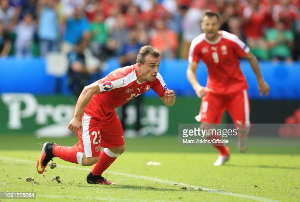 June 2016 - UEFA EURO 2016 - Round of 16 - Switzerland v Poland - Xherdan Shaqiri celebrates scoring his goal - .