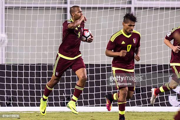 Venezuela forward Jose Salomon Rondon celebrates Venezuela's only goal in the second half during the Copa America Centenario quarterfinal match...