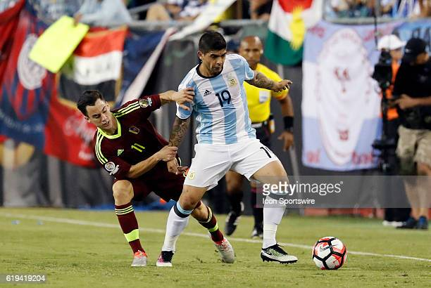 Venezuela midfielder Juan Pablo Anor tries to slow down Argentina midfielder Ever Banega Argentina defeated Venezuela 41 in the quarterfinal of the...