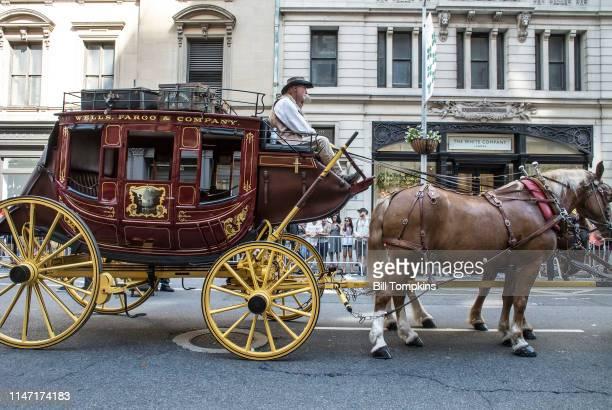 June 2017]: Wells Fargo horse drawn carriage. June 2017in New York City.