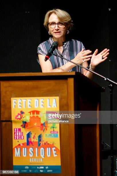 """June 2018, Berlin, Germany: French embassador Anne-Marie Descotes speaks during the opening ceremony of the """"Fête de la Musique"""". The music festival..."""