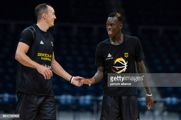 National player Dennis Schroeder and Karsten Tadda during a training session of the German basketball national team Germany is playing against...