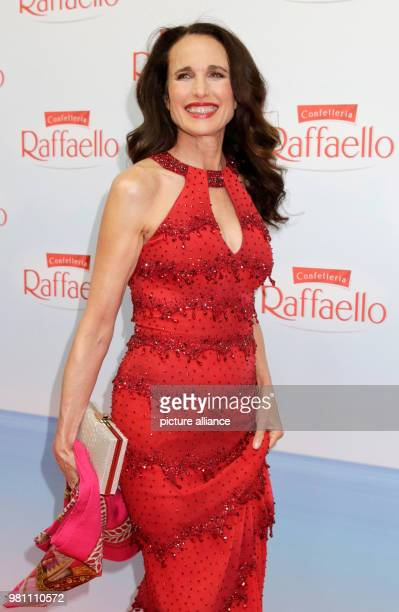 """June 2018, Germany, Berlin: Actress Andie MacDowell arriving to the """"Raffaello Summer Day"""" in support of the Arche Children's and Youth relief..."""