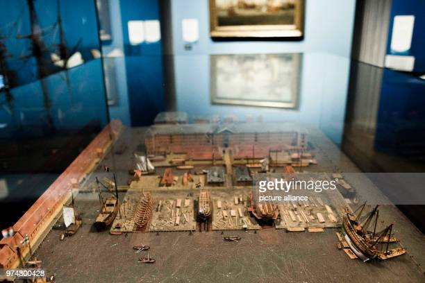 June 2018, Germany, Berlin:A model of a shipyard in Amsterdam in the 17th century at the exhibition 'Europa und das Meer' (lit. Europe and the sea'...