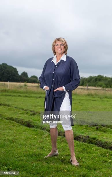 The presenter Alida Gundlach stands on a field Gundlach celebrates her 75th birthday on 17 July Photo Philipp Schulze/dpa